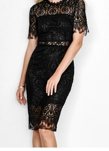 Cupshe Black Lace midi Dress